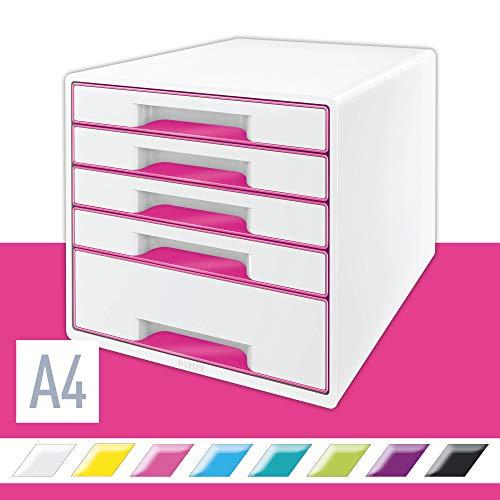 Leitz 52141023 - Cajonera (5 cajones, 4 grandes y 1 pequeño, 36,3 x 28,7 x 27 cm), color blanco y rosa