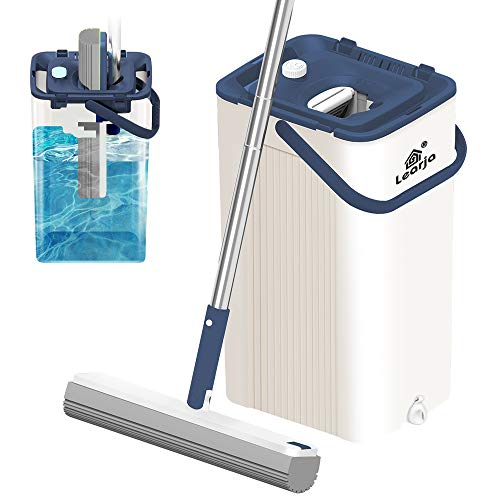 LEARJA Sponge Mop, Single Bucket Self Wringer and Cleaning, Super Absorbent Mop Extendable Handle, Squeeze Compact Floor Mop Pail, Easy Storage ( Blue Bucket + Gray Mop Head)
