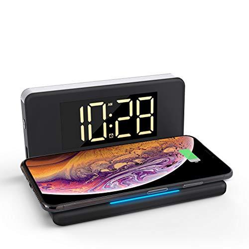 Pointuch Despertador digital con cargador inalámbrico, 10 W, luz nocturna blanca, 4 niveles de brillo ajustables, conector QC3.0, compatible con iPhone Samsung Airpods