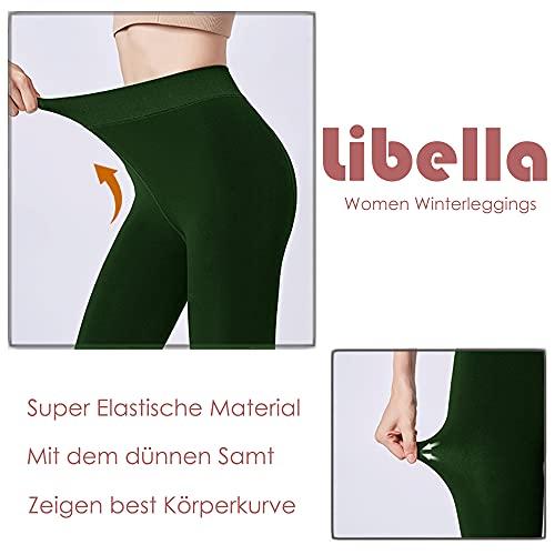 Libella Leggings térmicos para Mujer con Forro Interior Leggins cálidos sin Costuras de Invierno Treggings sin Costuras Cintura Alta Deporte Largo Ajustado 4130 Verde XL