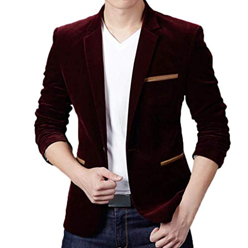SEA GIANT Men's Fashion Brand Blazer British's Style Casual Slim Fit Suit Jacket Solid Male Blazers,Wine red,M