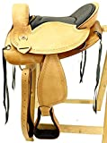 Baumloser Wanderreitsattel ALASKA Eco aus Büffelleder mit Klettkissen, Größe:17 Zoll
