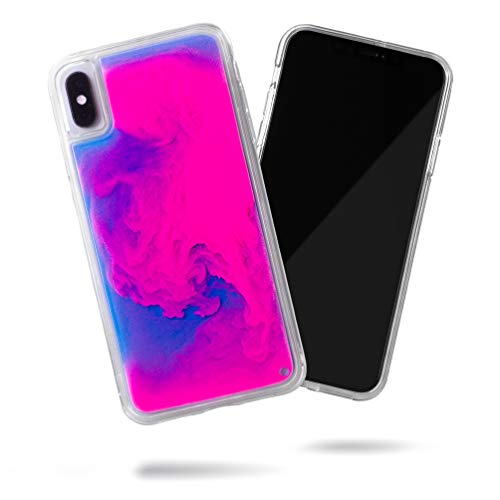 SteepLab Flowing Neon Sand Liquid iPhone Xs Max Case - Full Body Protection with Raised Bezel - Blueberry and Pink Glow