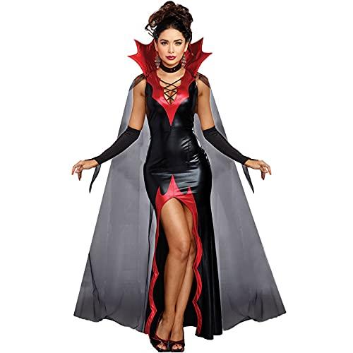 WFEI Vestido Sexy de Halloween para Mujer, Vestido Elegante de Cosplay con Guantes de Capa, Disfraz de Vampiro a la Moda, Vestido Negro, Ropa de Fiesta,Negro,L
