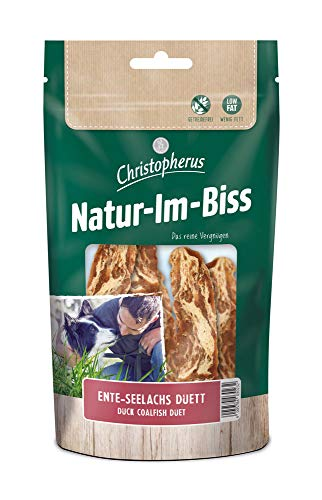 Christopherus Kausticks für Hunde, Ente-Seelachs Duett, Warmluftgetrocknet, Natur-Im-Biss, 70 g