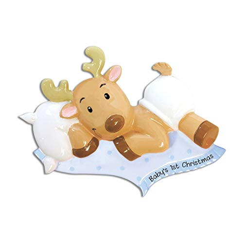 Personalized Baby's 1st Christmas Reindeer Ornament for Tree 2018 - Cute Christ-moose Boy in Blue Bed - Shower Tradition Nursery Grand-son Child Kid Rudolph Red Nose - Free Customization by Elves