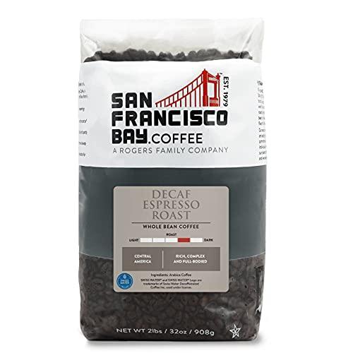 SF Bay Coffee DECAF Espresso Roast Whole Bean Coffee, 2 lb Bag (32 oz), Medium Dark Roast, Swiss Water Process Decaffeinated