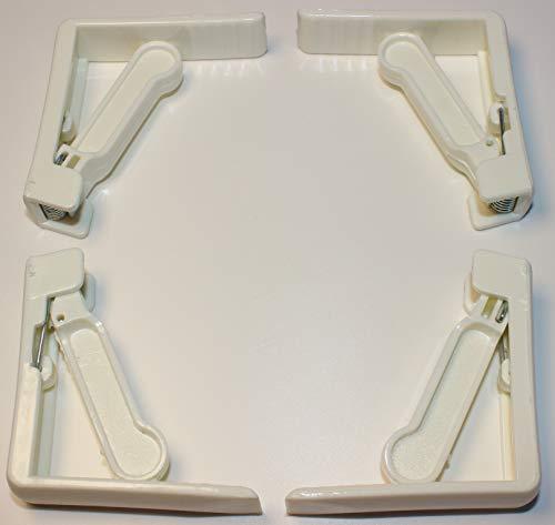 """Tischtuchklammern Kunststoff Tischabdeckungsklemmen Tischdecke 4er Clips für Tischtuch Tischdecke Läufer Tischdeckchen Papiertischdecke Tischplatten bis 5cm weiß """"EINWEG"""" -verpackt (4)"""