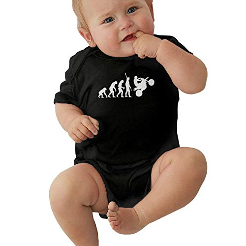 90ioup Human Evolution Motorrad Car1 Baby Kurzarm Neugeborene Jungen Mädchen Krabbelanzug Strampler Jumpsuit