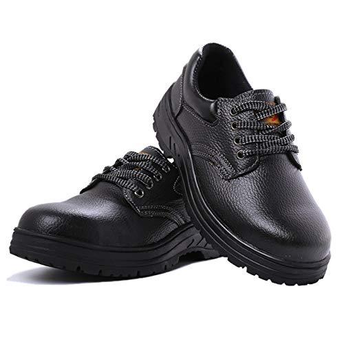 WVIVW Zapatillas de Seguridad Hombre Mujer Ligeros Cuero Comodo S3 SRC Zapatos de Trabajo para Trabajar Entresuela Puntera de Acero Impermeable Antideslizante Construcción Reflexivo Botas Negro,34 EU