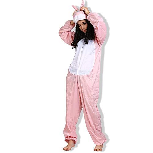 EraSpooky Unisex Kaninchen Kostüm Hasenkostüm Faschingskostüme Einteiler Halloween Party Karneval Fastnacht Tierkostüm für Erwachsene Herren Damen