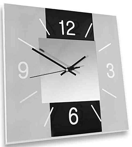 dekojohnson Moderne Wanduhr aus Glas für Wohnzimmer/Küche/Schlafzimmer - Design Küchenuhr Schwarz/Grau 30x30cm Groß