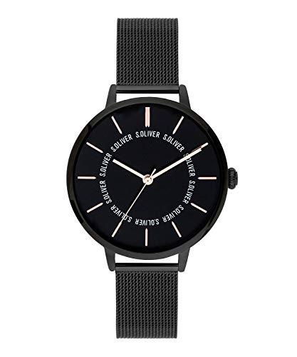 s.Oliver Damen Analog Quarz Uhr mit massives Edelstahl Armband SO-3697-MQ