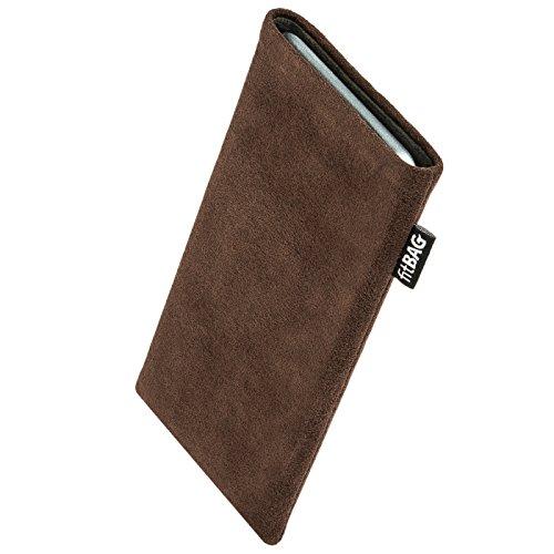 fitBAG Classic Braun Handytasche Tasche aus original Alcantara mit Microfaserinnenfutter für Alcatel 3V | Hülle mit Reinigungsfunktion | Made in Germany