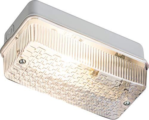 Knightsbridge IP65 - Portalámparas con difusor prismático y base de aluminio, B22, 100 W, color...