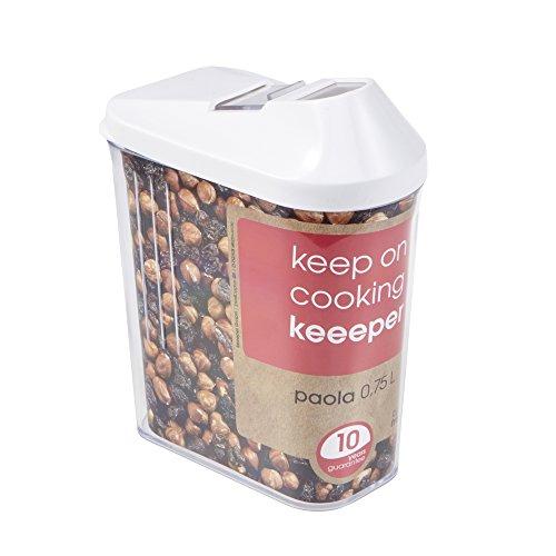 Schüttdose für Trockenvorräte, Stufenlos verstellbarer Dosierdeckel, BPA-freier Kunststoff, 750 ml, 10,5 x 5,5 x 17 cm, Paola, Weiß