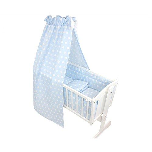 TupTam Unisex Baby Wiegen-Bettwäsche-Set 6-TLG, Farbe: Tupfen Blau, Anzahl der Teile:: 6 TLG. Set