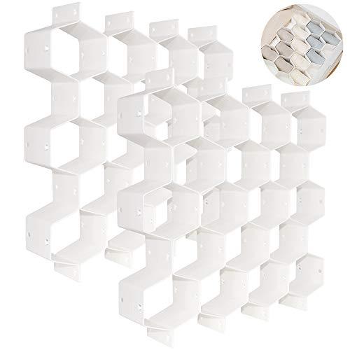 QUMENEY Organizador de cajón de plástico con forma de panal de abeja, 18 compartimentos múltiples, para cinturón, calcetines, divisor de almacenamiento (blanco, 2 unidades)
