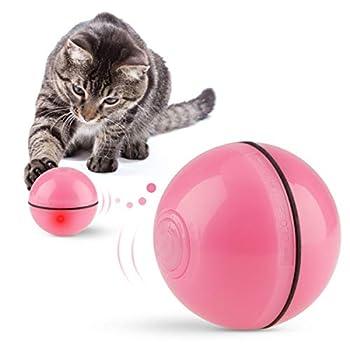 Jouets pour Chat Balles Interactif Balle Rechargeable USB Automatique Changer de Direction Balles Jouets pour Chats avec Lumière LED Divertissement Chat Chaser des balles pour Chats Exercice Rose