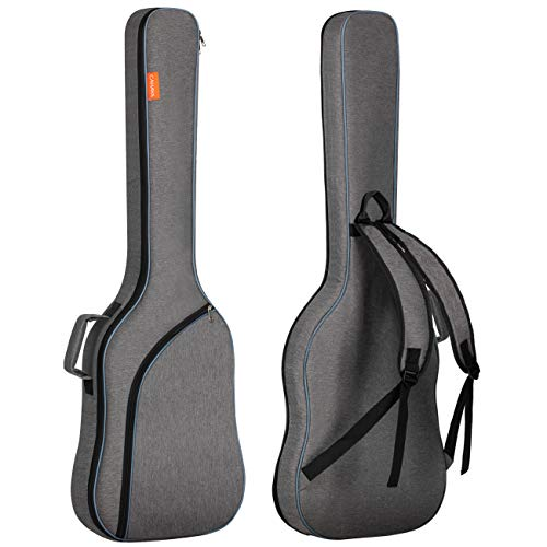 CAHAYA Electric Bass Guitar Bag Gig Bag Backpack Padded Soft Case 0.3inch Padding, Grey