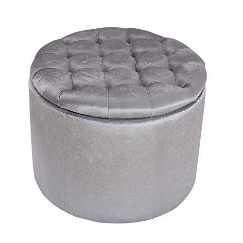 Invicta Interior Eleganter Sitzhocker MODERN BAROCK 50cm Silber Samt Aufbewahrungkorb Hocker Polsterhocker