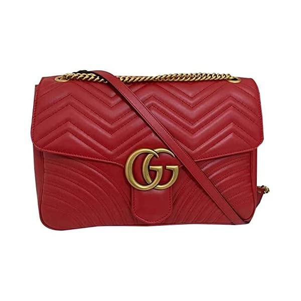 Fashion Shopping Gucci Marmont 2 Hibiscus Red Heart Chevron Bag Leather Red Italy Handbag New