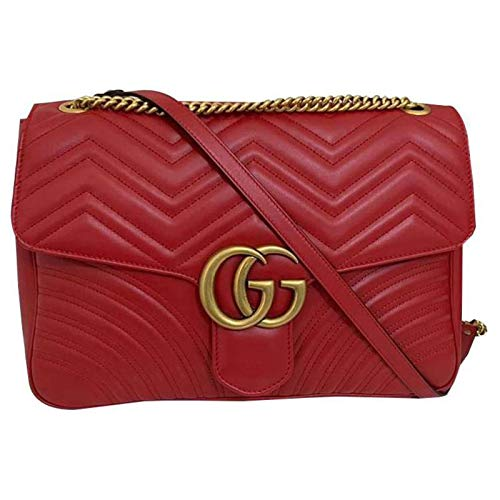 Gucci Marmont 2 Hibiscus Red Heart Chevron Bag Leather Red Italy Handbag New
