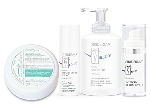 SIRIDERMA® Pflege-Set für feuchtigkeitsarme Mischhaut   Waschlotion, Feuchtigkeitscreme, Intensiv-Serum   Gratis Badekonzentrat 75g (leicht duftend)