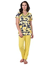 Noty - Girls/Womens 2 Pcs Printed Hosiery Cotton Night Suit/Night Wear/Night Dress - Top with Bottoms