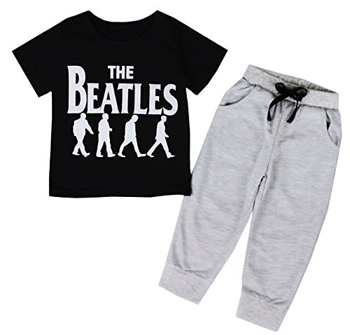 Sziyu 2pcs Kids Baby Boys The Beatle Letter Printed Short Sleeve+ Pants Set Outfits Clothing (1-2Y, white)