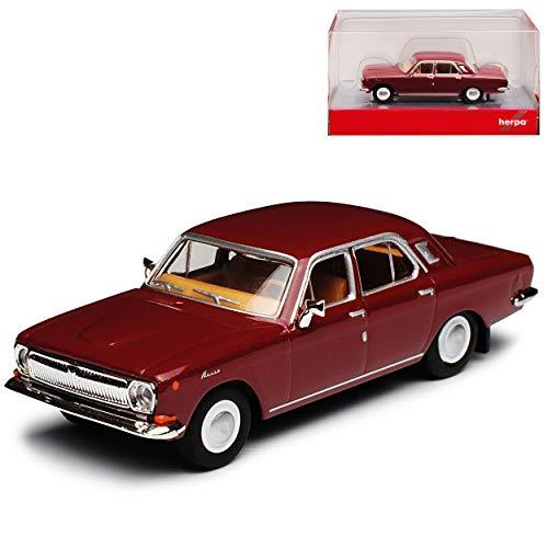 Wolga GAZ M24 Limousine Wein Rot DDR 1967-1992 H0 1/87 Herpa Modell Auto mit individiuellem Wunschkennzeichen