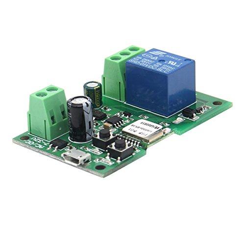 ILS - Interruttore Relè Wifi USB 5V o DC 7V-13V Fai Da Te 1 Canale Autobloccante Wireless controllo remoto da cellulare con lâ€app Ewelink compatibile con Alexa, Echo e Google,