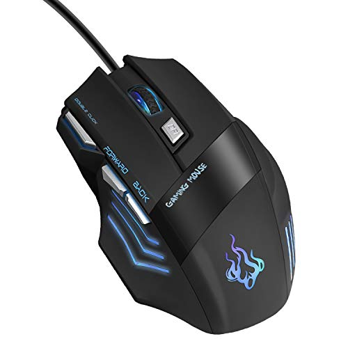 QueenDer Gaming Maus, USB Kabel Mäuse Wired Hohe Präzision Optische Professionelle Gamer Mouse mit 7 Tasten/4 Einstellbarer DPI(1000-3200)/LED/Ergonomisches Design für PC Laptop MacBook - Plug & Play