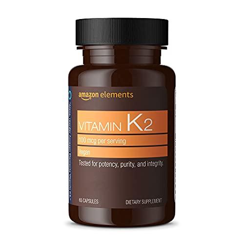 Amazon Elements Vitamin K2 100 mcg, Vegan, 65 Capsules, 2 month supply (Packaging may vary)