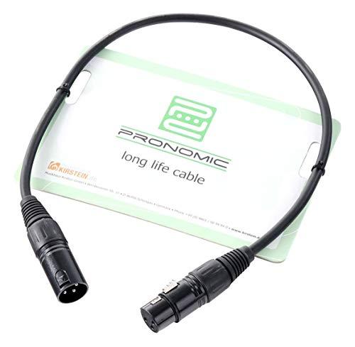 Pronomic XFXM-0.5 Mikrofonkabel (0,5m Länge, XLR female 3-pol -> XLR male 3-pol, Stecker handgelötet, säure- und ölfest, Spannzangen-Zugentlastung) schwarz