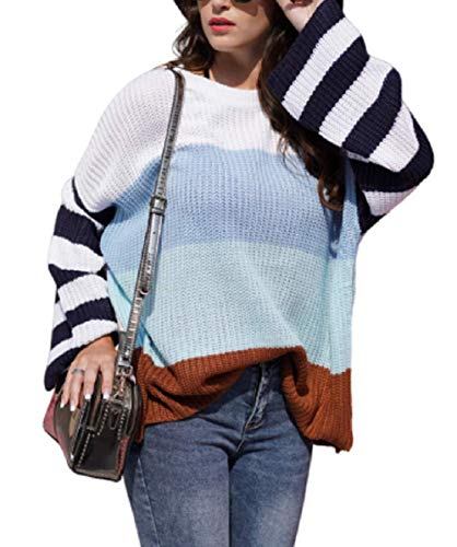 cordat Womens Casual Crew Neck Color Block Oversized Lightweight Sweater Long Sleeve Knit Pullover Jumper Tops Blue
