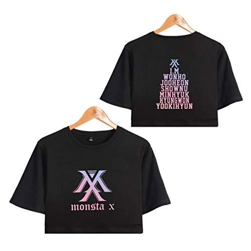 Monsta X Camiseta de Manga Corta con Manga Corta de Verano Sexy Monsta X Tops Impresos Expuestos Shownu I.M Joo Heon Kihyun Hyung Won (1,M)