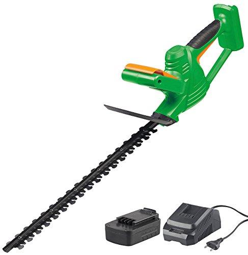 AGT Professional Kabellose Heckenschere: Akku-Heckenschere mit Schnell-Ladegerät, 46 cm, 1.200 U/min, 2 Ah (Hecken-Trimm-Gartenwerkzeug)