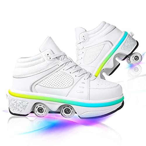 Patines para exteriores de doble hilera, ruedas de deformación invisible, 2 en 1, patines de polea extraíbles, zapatos de patinaje con luces LED (color blanco, tamaño: 42)