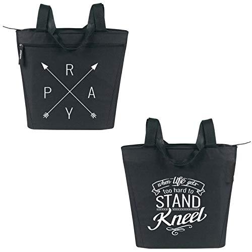 Pray Zippered Tote Bag for Women - Religious Church Gift (Black)