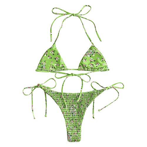 Traje de baño Mujer, Mujer Push Up Animal & Floral Print Conjunto de Bikini de Hilo Fruncido Traje de baño...