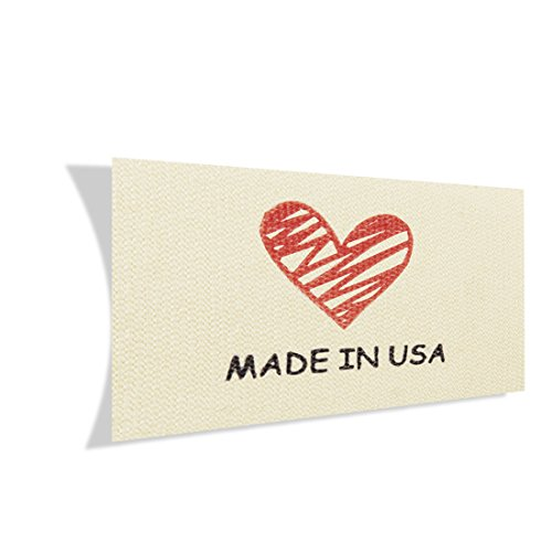 Wunderlabel Made in USA Cotton Label Crafting Craft Art Fashion Classic Ribbon Ribbons Tag Clothing Sewing Sew Clothes Garment Fabric Material Embroidered Tags, Black and Red on Cream, 100 Labels