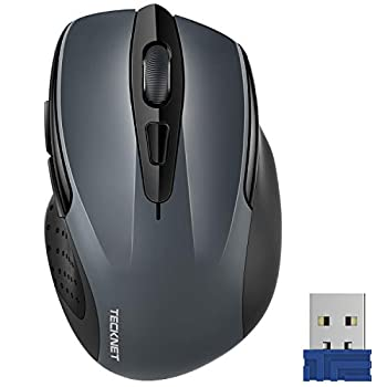 TECKNET Pro 2.4G Ergonomic Wireless Optical Mouse with USB Nano Receiver for Laptop,PC,Computer,Chromebook,Notebook,6 Buttons,24 Months Battery Life,2600 DPI 5 Adjustment Levels