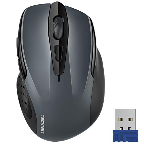 Tecknet M003 2.4G Ergonomic Wireless Mobile Optical Mouse with USB Nano Receiver (Grey)