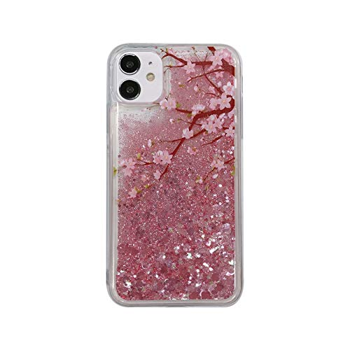 Case for Samsung Galaxy S20 Plus, 3D Glitter Quicksand Flowing Liquid Bling Sparkle Cute Clear Transparent Soft TPU Bumper Gel Silicone Shockproof Cover Protective Case for Girls Women Cherry blossoms
