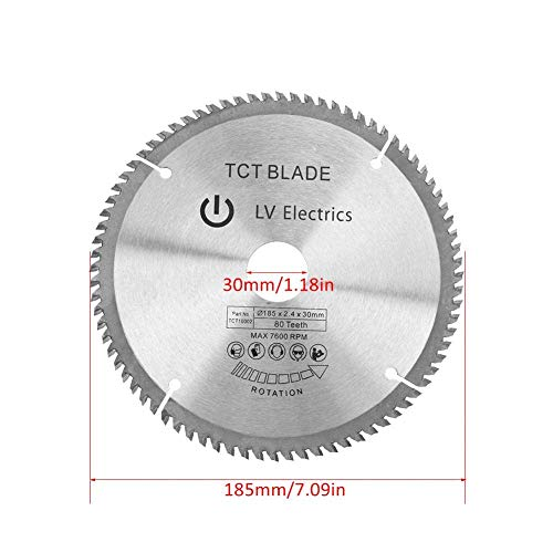 LHQ-HQ 80 Teeth Circular Saw Blade,7.09''OD Precision Finishing Cemented Carbide TCT Cutting Disc with 3Pcs Reduction Rings,for Cutting Machines, Electric Hand Saws, Sliding Table Saws