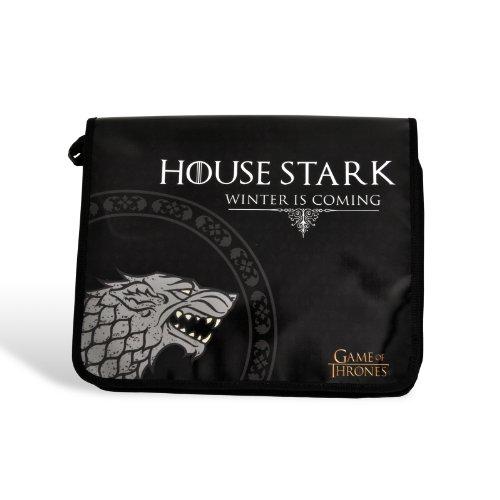 Elbenwald Game of Thrones Schattenwolf House Stark Tasche Messenger Bag aus LKW-Plane lizenziert schwarz