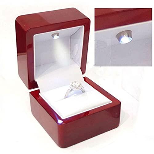 XKMY Anillo de regalo cajas de lujo anillo de cuero caja con luz LED anillos de boda Caso cajas rojo 01