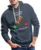 Le Rugby m'appelle Faut Que J'y Aille Sweat-Shirt à Capuche Premium pour Hommes, XXL, Bleu Jeans