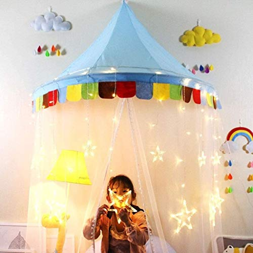 SMLZV Children Tent,Deluxe Kids Dream Bed Tent Indoor Playhouse Bedroom Decoration,Kids Play Tent for Birthday Quieting Kids Teepee ( Color : Blue , Size : L-120CM )